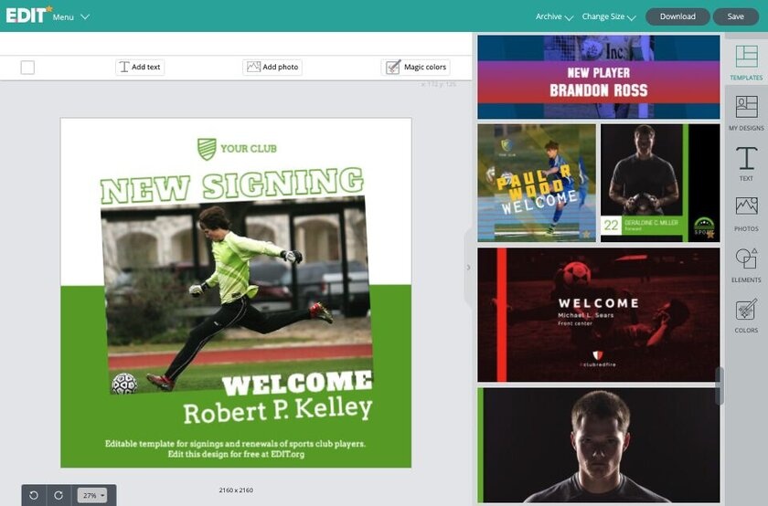 Template maker and editor for signings and player renewal and presentations