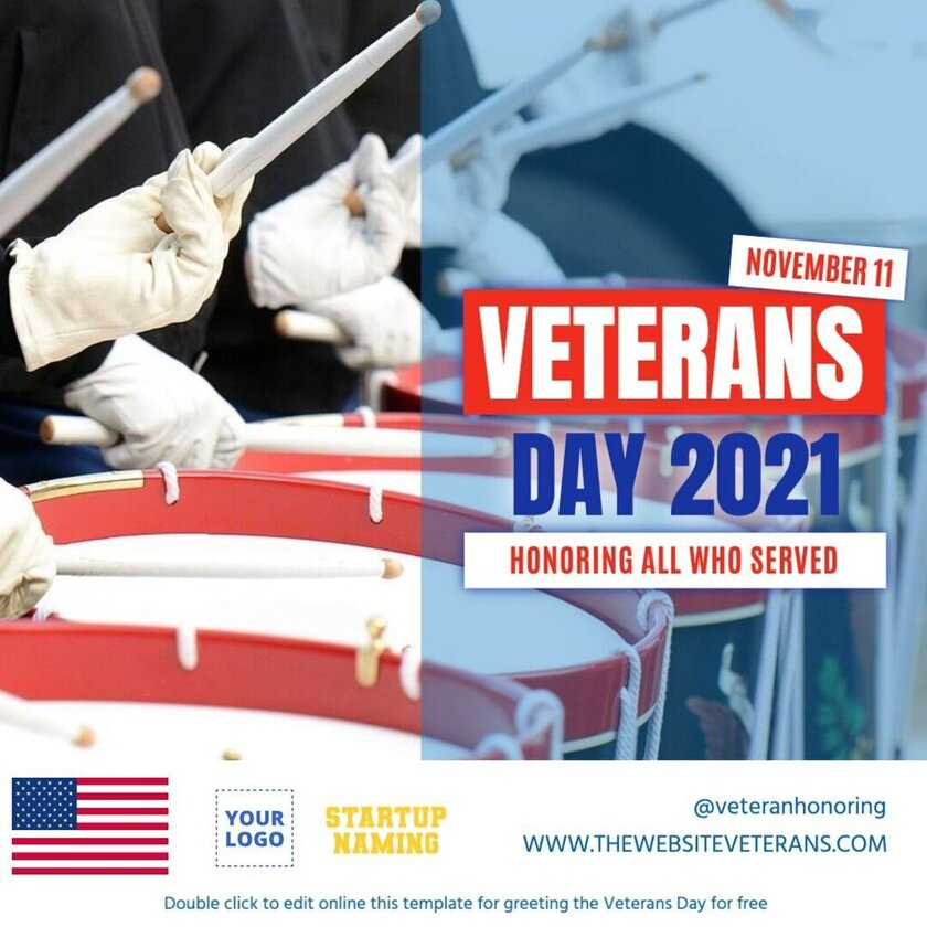 Veterans Day Event template with Parade picture background