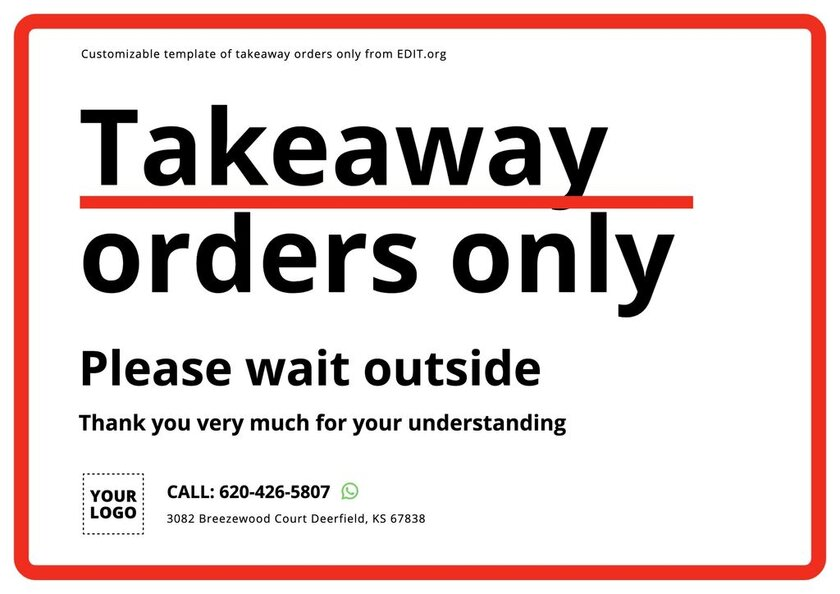 Editable takeaway service template to print
