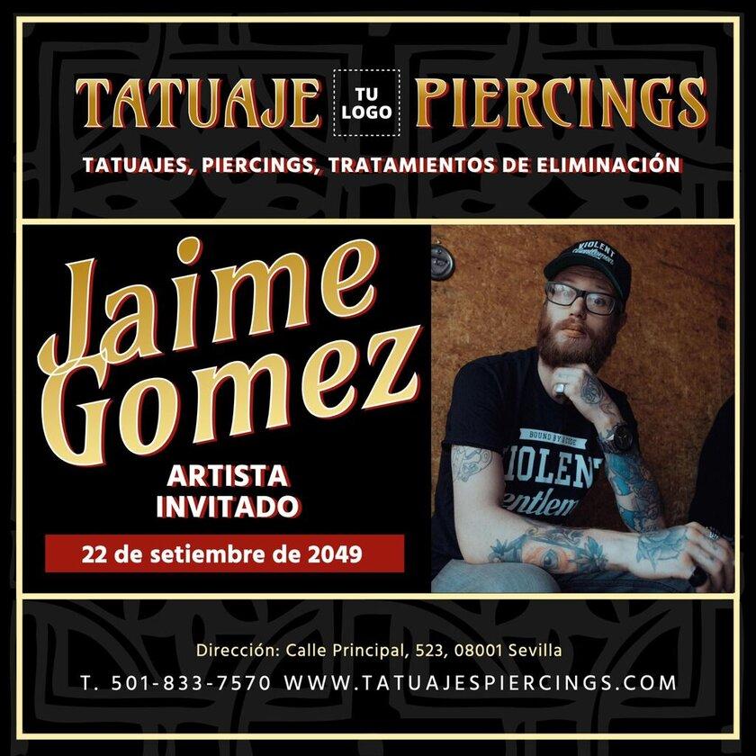 Plantilla tatuador artista invitado, editable y personalizable con tu logo y colores